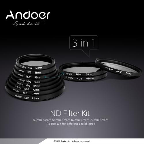 77mm Fader NDFiltersatz Neutral Density Fotografie Filtersatz (ND2 ND4 ND8) für Nikon Canon Sony Pentax DSLR-Kameras