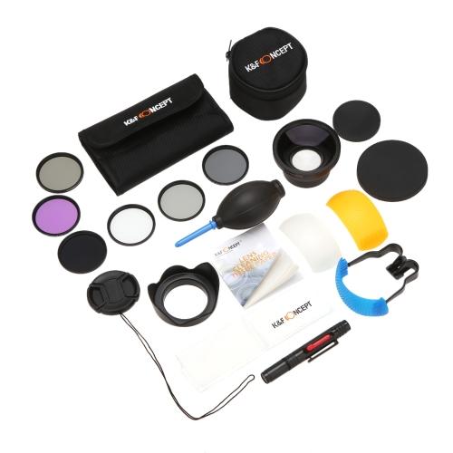 K & F CONCEPT 16-w-1 58 mm UV + CPL + FLD + ND2 + ND4 + ND8 Zestaw filtrów z obiektywem szerokokątnym szerokokątnym 58 mm 0,43 x HD + obiektywem z automatyczną regulacją dysz obiektywu Osłona obiektywu Pokrywa pokrywy obiektywu Oczyszczarka obiektywu Tkanina Tkanina Osłona dmuchawy powietrznej Canon EOS 600D 650D 700D Rebel T5i T4i T3i Nikon D7100 D