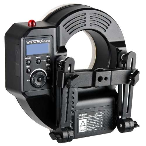 GODOX resistentes Witstro AR400 400W Li-ion batería Ring Flash Speedlite + luz LED de Video para Canon Nikon cámaras réflex digitales