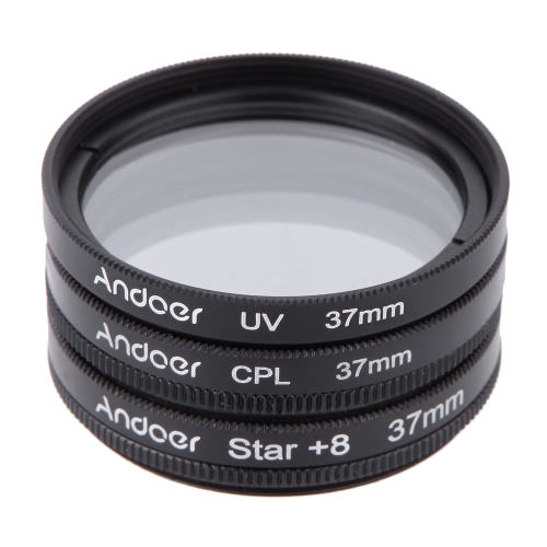 Andoer 37mm Filter Set UV + CPL + Star 8-Point Filter Kit with Case for Canon Nikon Sony DSLR Camera Lens