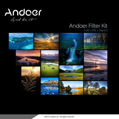 Set de Andoer 40,5 mm filtro UV + CPL + 8 puntos estrellas filtro Kit con estuche para lente de cámara DSLR Canon Nikon Sony