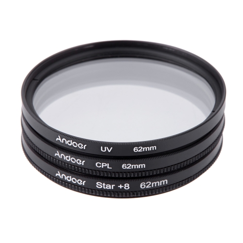 Andoer 62mm Filter Set UV + CPL + Star 8-Point Filter Kit with Case for Canon Nikon Sony DSLR Camera Lens