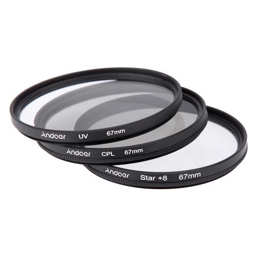 Andoer 67mm Filter Set UV + CPL + Star 8-Point Filter Kit with Case for Canon Nikon Sony DSLR Camera Lens D1882