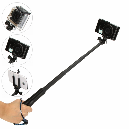 Andoer Telescoping Extendable Selfie Self-Timer Monopod Handheld Grip Pole for Sport Camera GoPro SJCAM Mirrorless Card Camera  with Screw Wirst Strap Adapter Adjustable Holder Frame for iPhone 6 / 6 Plus/ 5 / 5C/ 5S/ 4S Samsung Galaxy S5 / Note 3