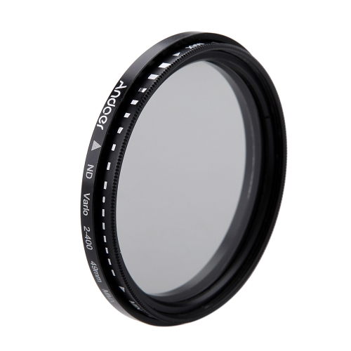 Andoer 49mm ND Fader Neutral Density Adjustable ND2 to ND400 Variable Filter for Canon Nikon DSLR Camera D1919