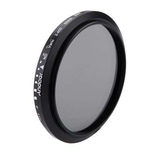 Andoer 55mm ND Fader Neutral Density Adjustable ND2 to ND400 Variable Filter for Canon Nikon DSLR Camera D1921