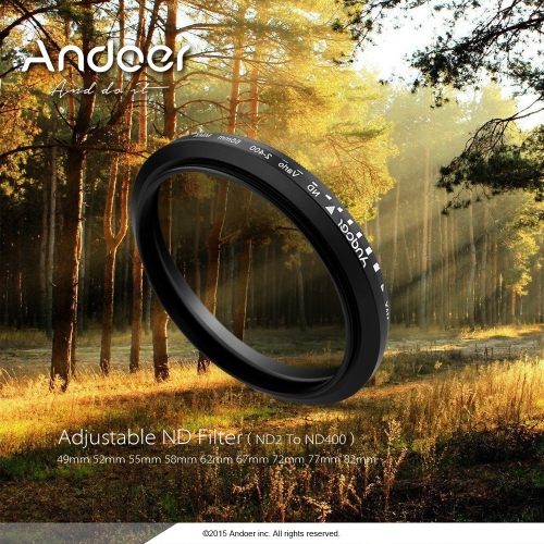 Andoer 67mm ND Fader Neutral Density Regulowany ND2 do ND400 Zmienny filtr do Canon Nikon DSLR Camera