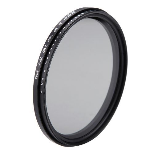 Andoer 72mm ND Fader Neutral Density Adjustable ND2 to ND400 Variable Filter for Canon Nikon DSLR Camera D1925