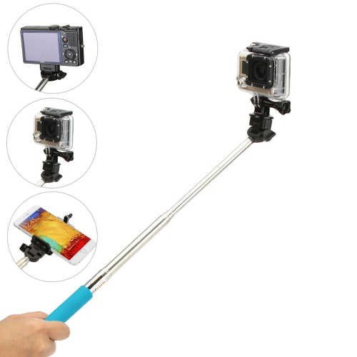 Andoer Camera Accessory Compact Extendable 180° Rotation Monopod Handheld Grip for Sport Camera GoPro Hero4/3+/3/2/1 SJCAM with Strap Tripod Mount Adapter Adjustable Holder Frame for iPhone 6/ 6 Plus/ 5/ 5C/ 5S/ 4S Samsung Galaxy S5/ Note 3/2