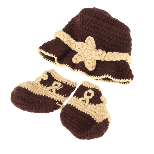 Baby Infant Trilby Fedora Hat Cap & Shoes Crochet Knitting Costume Soft Adorable Clothes Photo Photography Props for Newborns