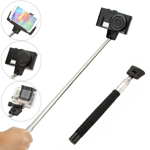 180 Degree Rotation Multifunctional Extendable Wireless Bluetooth Remote Shutter Handheld Monopod Grip Pole for Gopro SJCAM Mirrorless Card  Camera with Tripod Mount Adapter Mirror Micro USB Cable Adjustable Holder Frame for iPhone Sony Samsung