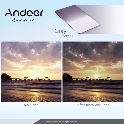 Andoer Z Series 100x150mm Soft Square Filter Graduated Neutral Density GND8 Grad ND 0.9 for Lee and Cokin Z-Pro Holders