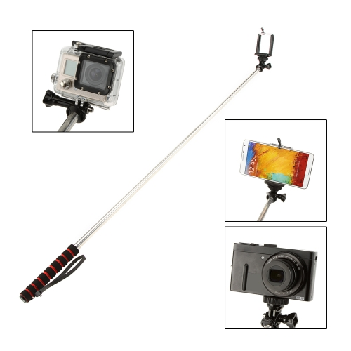 Andoer Portable Extendable Selfie Self-Timer Monopod Handheld Grip Pole for GoPro SJCAM Mirrorless Card Camera with Adjustable Holder for iPhone Samsung