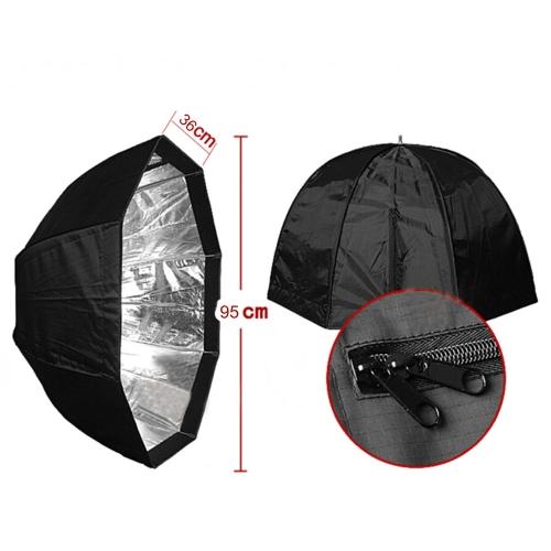 95cm / 37.4in Octagon Umbrella Softbox Brolly Reflector Tent Studio Photography Carbon Fiber Bracket  for Speedlite Flash Light