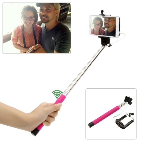 Wired Cable Remote Shooting Control Shutter Selfie Self-timer Extendable Monopod Handheld Grip Pole Stick for iPhone Samsung IOS 5.0 Android 4.2 Smartphones