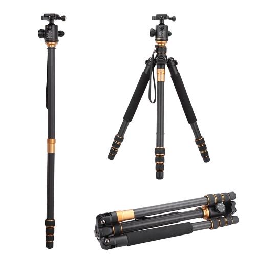 QZSD Q999C Pro trépied monopode fibre de carbone rotule Portable détachable Changeable voyageant pour appareil photo SLR DSLR caméra