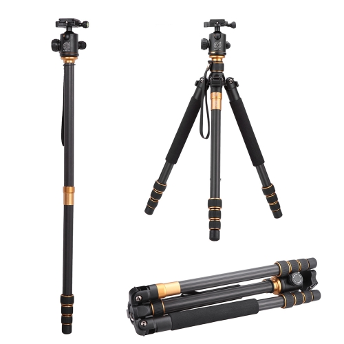 QZSD Q999C Pro 三脚スタンド 炭素繊維ボールヘッド 折りたたみできのスタンド SLRカメラ、DSLRビデオカメラに適用