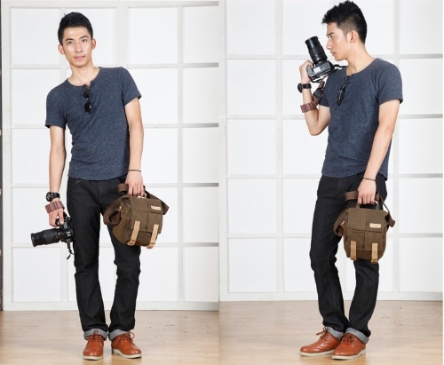 Caden Digital Camera Bag Waterproof Canvas Vintage Shoulder Bag for Nikon Sony Canon DSLR