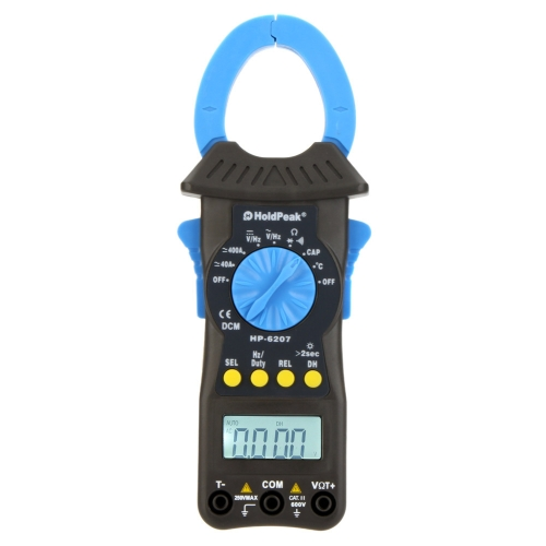 HoldPeak HP-6207 Auto Range Digital Clamp Meters Amp Volt Ohm HZ Cap Temp Meter Tester with LCD Backlight