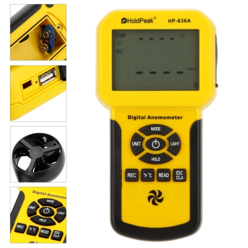 HoldPeak HP-836A Digital Anemometer Wind Speed/Air Velocity/Temperature Meter Tester Thermometer