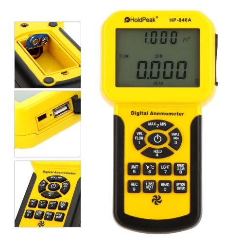 HoldPeak HP-846A Digital Anemometer Wind Speed/Air Flow/Temperature Meter Tester Thermometer