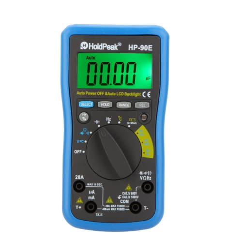 HoldPeak HP-90E Automatischer Bereich Digitalen Multimeter DMM Cap.HZ Temperaturmessgerät Batterietester w/Auto LCD Hintergrundbeleuchtung