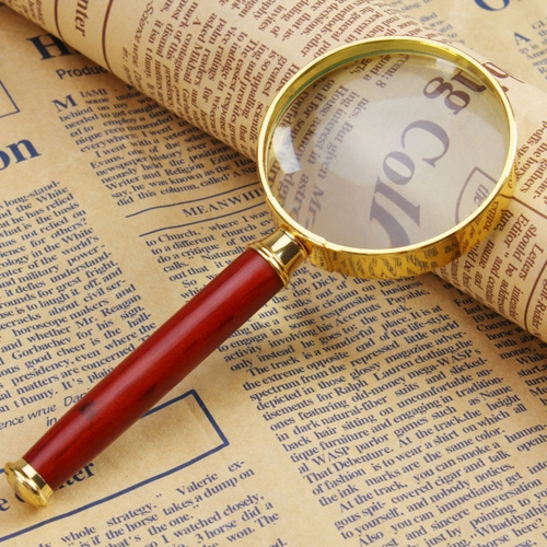 50mm 8X Handheld Magnifier with Wooden Handle Metal Frame Glass Loupe Magnifying Reading Tool