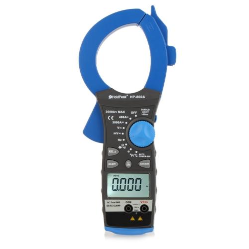 HoldPeak HP-860 a 3000 a Ture RMS double affichage pince ampèremétrique AC/DC tension actuelle température fréquence résistance Mulitimeter