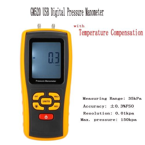 GM520 Przenośny przenośny cyfrowy manometr ciśnienia manometru cyfrowego Manometr różnicy ciśnień Zakres pomiaru 35kPa z kompensacją temperatury