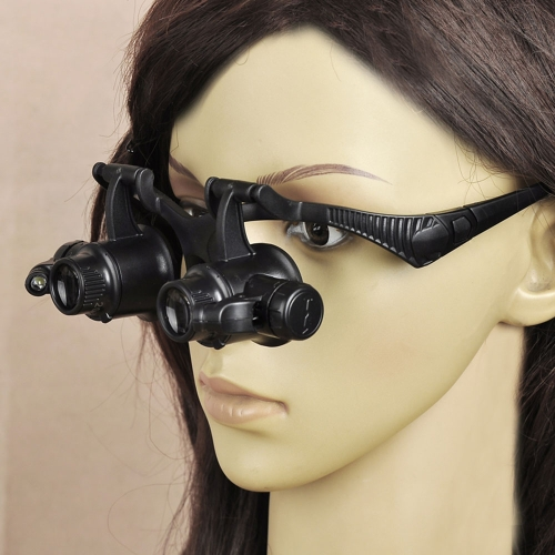 10X 20X Adjustable LED Binocular Double Eye Jeweler Watch Repair Headband Glasses Magnifier Loupe