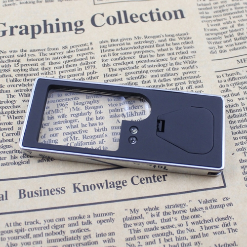 Multifunctional 3X/10X Magnifier of Cellphone Card Design with 4 LED Lights 1 UV Money Detecting Light Mini Pen Magnifying Tool