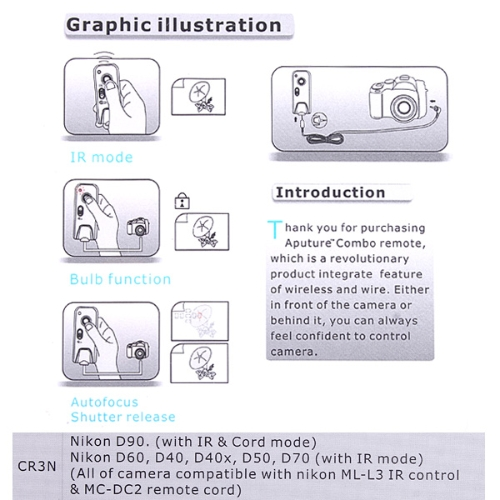 Combo IR & Remote Camera Shutter Control for Nikon D70