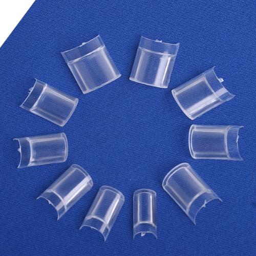 100 Professional Clear Acrylic False Nails Half Tips with Syringe