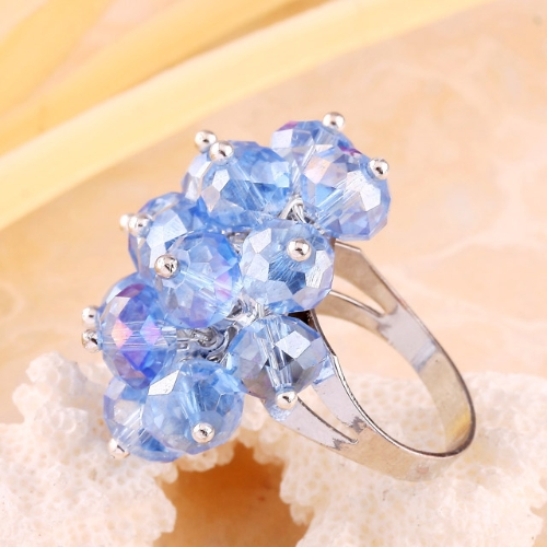 Adjustable Baby Blue Crystal Faceted Beads Ring Size 7-10 jra11