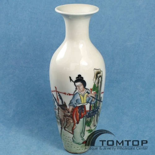 CHINA COLLECTION DRAWING PORCELAIN VASE LADY TOM466*