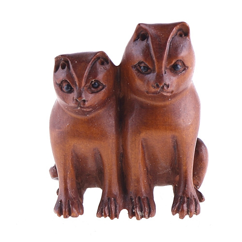 Buchsbaum-Netsuke aus Katzen