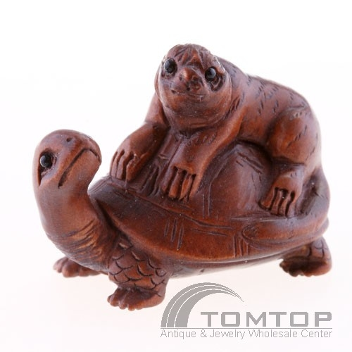 Japanese Boxwood Wood Ojime Bead Tiger On Turtle