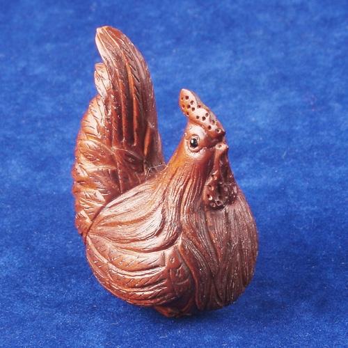 Handcraft Boxwood Netsuke Rooster Cock