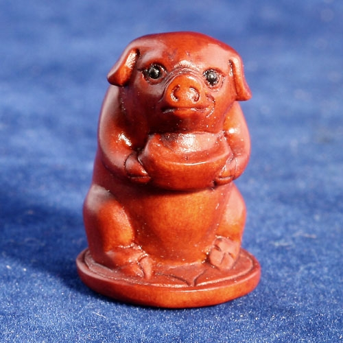 Handmade Boxwood Ojime Bead Pig Carry Silver