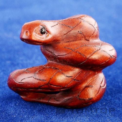 Handcraft Boxwood Ojime Bead Convolute Snake