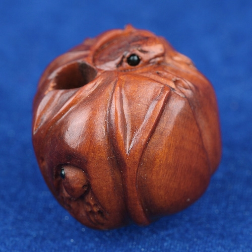 Boxwood Ojime Bead Frog In Lotus Leaf