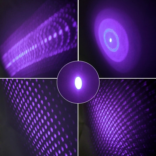 5 in 1 30mW 405nm Star Projector Purple Laser Pointer Pen + Caps