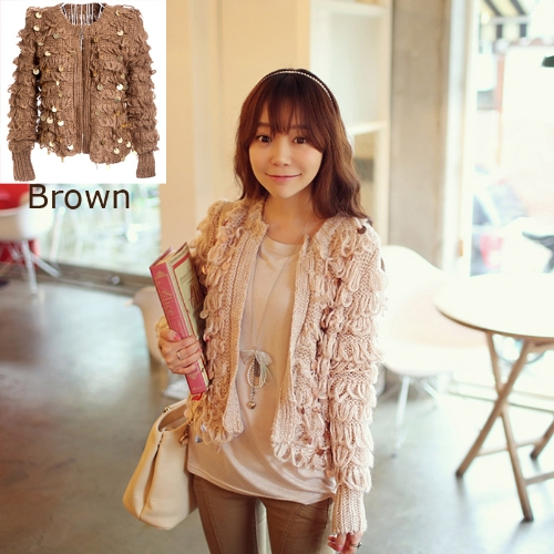 Women Loose Retro Sequin Cardigan Sweater