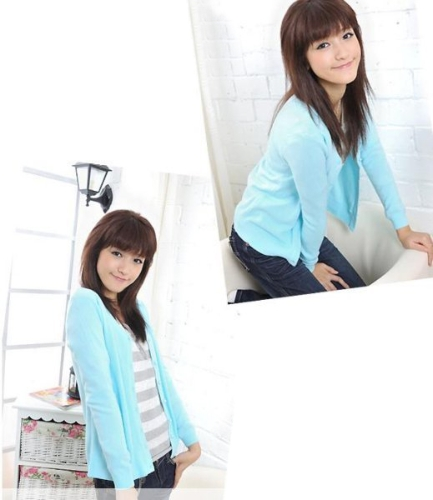 Frauen Perle Button V Neck Knitted Sweater Cardigan
