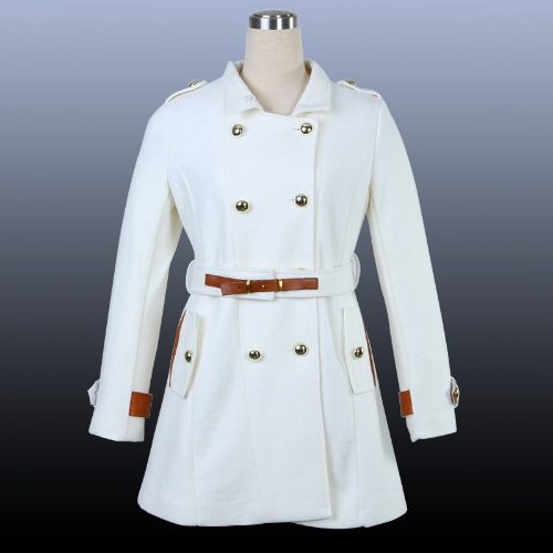 Women's Double-breasted Wool Trench Coat Warm Dress Jacket Outerwear
