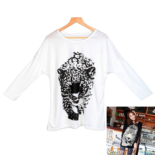 T-shirt tigre leopardo Animal impressão Tops mulher