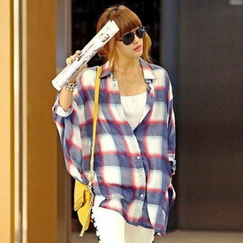 Fashion Womens Plaid Check Casual Loose Batwing Tops Cotton Shirts T-Shirt Blouses