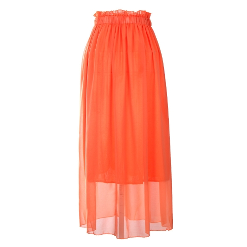 Women Maxi Skirt Dress Chiffon Pleated