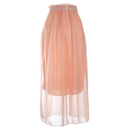 Women Maxi Skirt Dress Chiffon Pleated