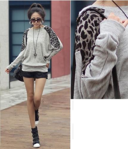 Women Ladies' Leopard Print Long Casual Loose Top Tunic Splicing T-shirt